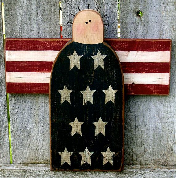 Patriotic Primitive Angel by ladybugsspot on Etsy, $38.95