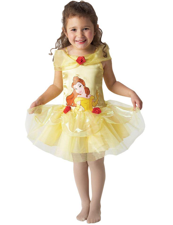 Disfraz de bailarina Bella™ : Este disfraz de Bella™ para niña está copmuesto por un vestido (medias no incluidas). El vetsido amarillo en efecto satinado y con velos, tiene rosas rojas en la cintura. Este...