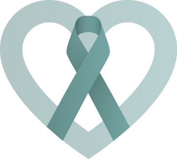 Teal awareness ribbon for IC - interstitial cystitis patients