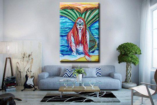 Mermaid painting, sugar skull, dia de los muertos,day of the dead,the little mermaid ,ocean,nautical, tattoo, mermaids, ariel, mexican, art