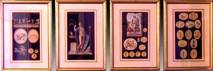 Grand Tour - Suite de Gouaches Néoclassiques - Italie débout XIXe siècle - EN VENT - ON SALE -