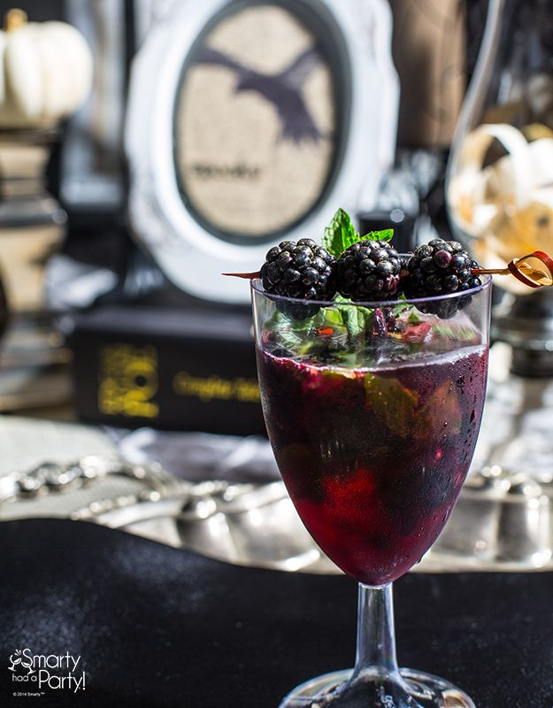 The Raven Cocktail Recipe | SmartyHadAParty.com What you need: Makes 1 cocktail  6 fresh blackberries fresh mint leaves 1.5  fl oz. shot white rum 1/2 cup cranberry juice Directions:  In a cup or shaker, mash 3 blackberries (just enough to get the juice) and mix with mint leaves. Add shot of rum and ice, then shake. Pour into wine goblet. Add cranberry juice and sugar (to taste). Put 3 blackberries on a bamboo pick, and lay bamboo pick across the top of the goblet. Garnish with mint sprigs.