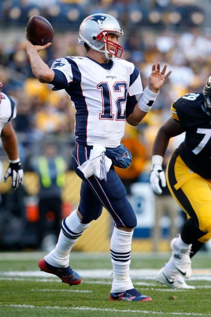 Patriots vs. Steelers:     October 23, 2016  -  27-16, Patriots  -     New England Patriots quarterback Tom Brady (12) passes during the first half of an NFL football game against the Pittsburgh Steelers in Pittsburgh, Sunday, Oct. 23, 2016.