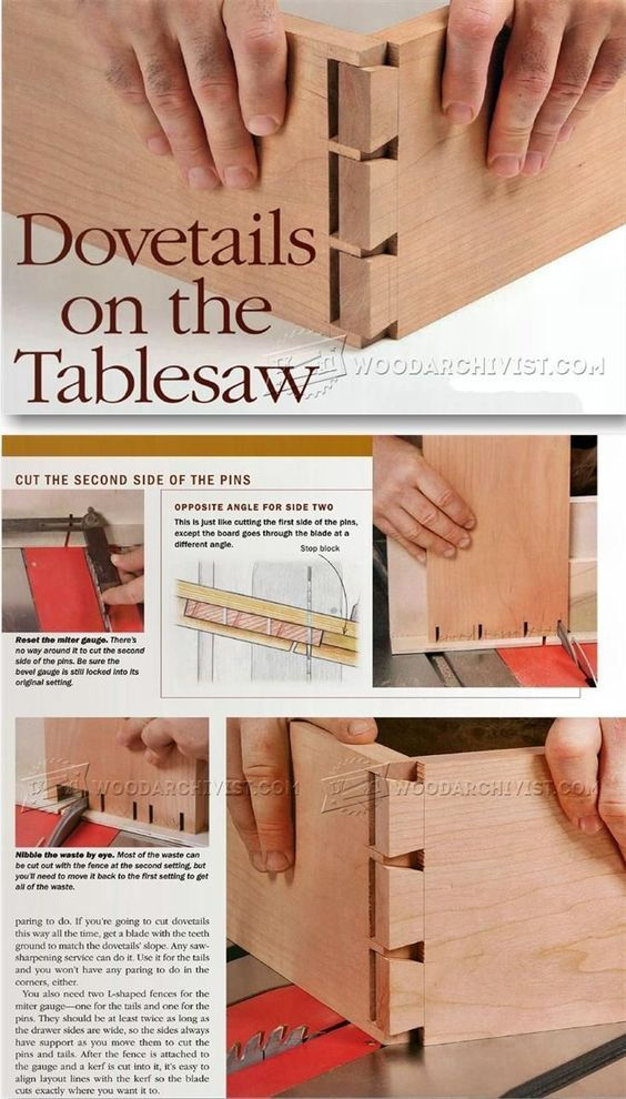 Table Saw Dovetail - Joinery Tips, Jigs and Techniques | WoodArchivist.com