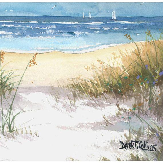 Ocean painting sea oats original Watercolor by der…