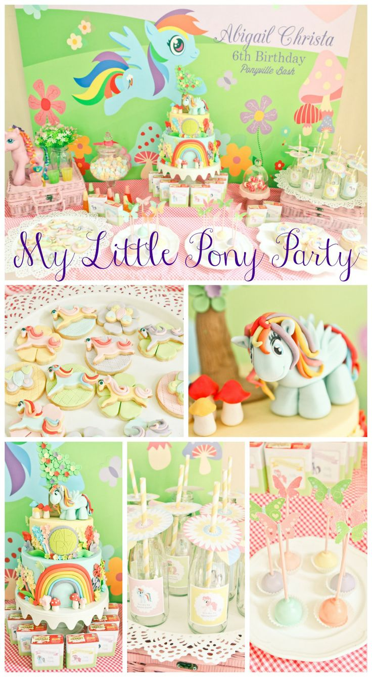 Awesome My Little Pony party ideas, especially the birthday cake! See more party ideas at CatchMyParty.com. #mylittlepony #girlbirthday
