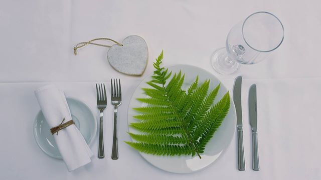 Sample table setting from The Dish Dolly. Fern, white plate and simple white tablecloth