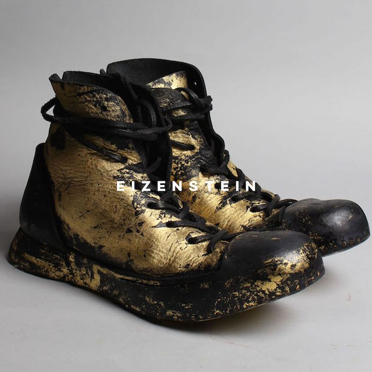 NIHOMANO SS16 BLACK AND GOLD BOOTS