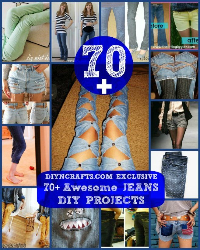 70+ Awesome Jeans DIY Projects {Refashioning, Slimming, Transforming} - DIY & Crafts