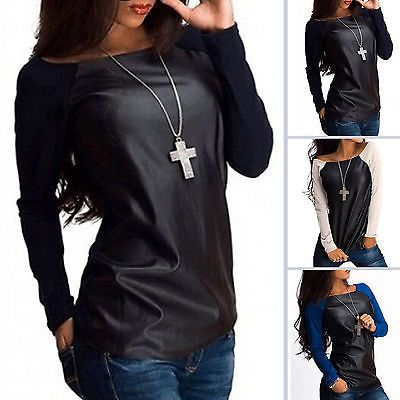 NEW Arrivals Women Scoop Neck PU Leather Patchwork Blouses Jumper Tops Shirts Pullover Long Sleeve Blouses Hot