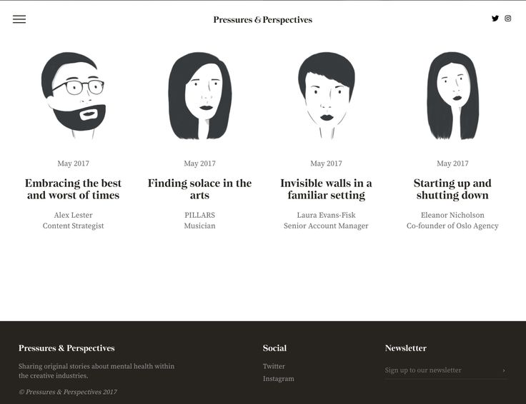 Pressures & Perspectives – Sharing original stories about mental health within the creative industries.   Awesome Screenshot