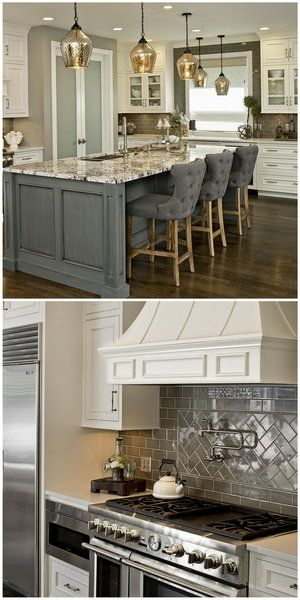 White & Gray Traditional Style Kitchen Updated with a Sleek Freshness -grey island, white cabinets
