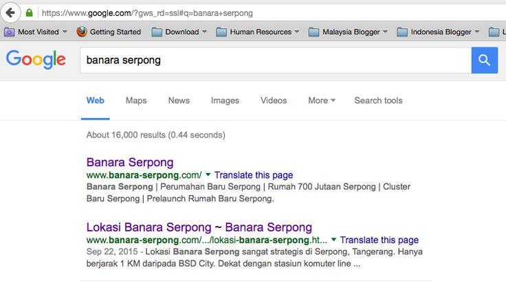 Posisi www.Banara-Serpong.com di Google
