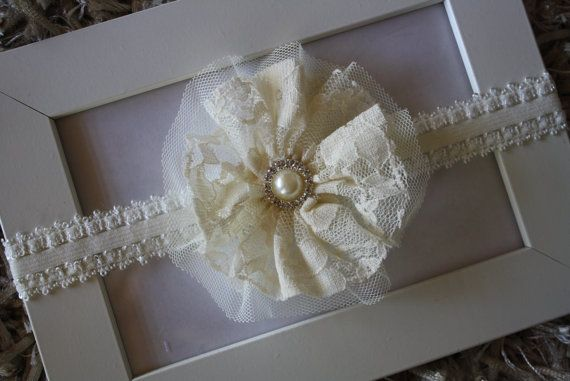 Lace and Tulle Flower Headband Flower Girl by MadeWithLoveByCas, $12.99