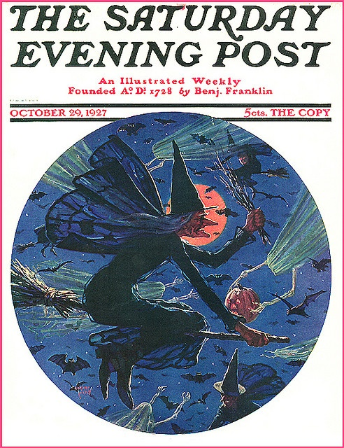 Saturday Evening Post Goblins, Ghosts, and Flying Witch--Super Vintage Halloween Magazine Cover