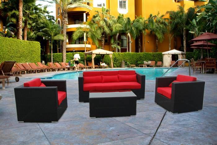 Red Black Wicker outdoor furniture