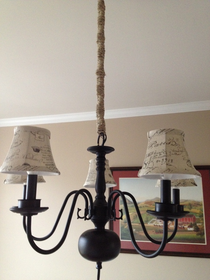 Chandeliers With Lamp Shades: Turn an ugly brass chandelier into