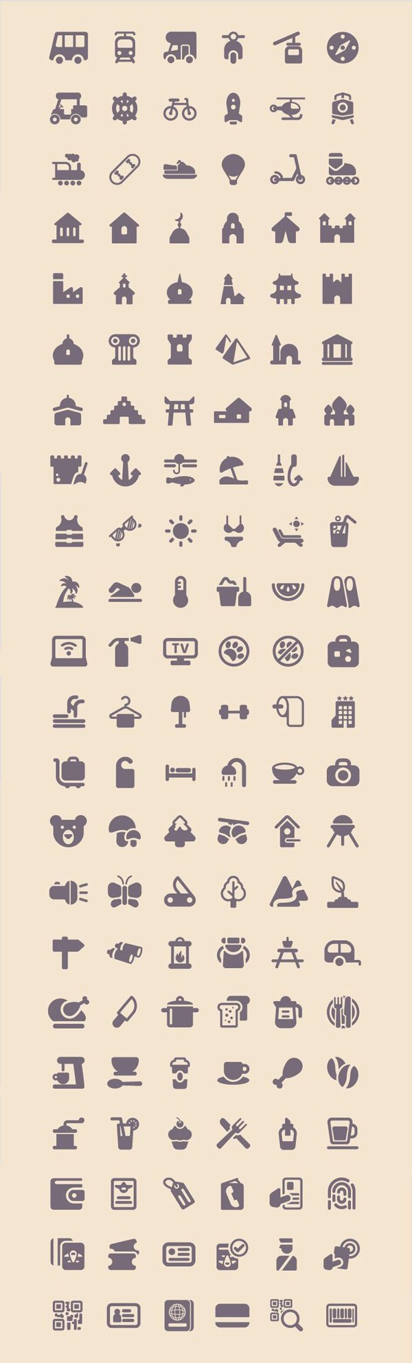 Free Download : Tourism & Travel Icon Set (100 Icons, PNG, SVG)