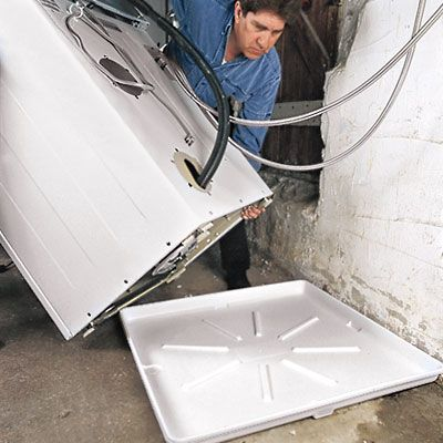 Cons to Main Floor Laundry Rooms: Noise and vibration require extra insulation and a motion-arresting pad. Leaks can damage first-floor rooms. Closet installation requires a vented door and additional space around stacked machines to dissipate dryer heat. Suggest auto shutoff valve (Floodstop $145) & washer drain pan (1-2-3 Under Washer Tray)