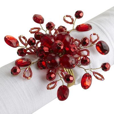 Beaded Spray Napkin Ring - Red This one is from Pier One but I'd like to try my hand at beading some myself!