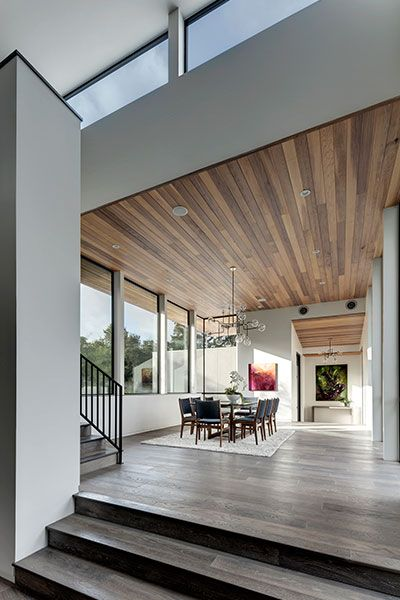 Gorgeous dining room design idea in dazzling house located in Austin, Texas - [Bracketed Space] House by Matt Fajkus Architecture