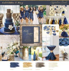 navy and gold wedding mood board and inspiration