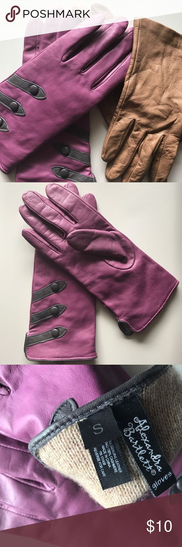 Fitted Genuine Leather Driving Gloves Bundle 2 for 1 Fitted Leather Glove Bundle! Both size small and super soft leather. Purple pair with Charcoal Gray accent detail is lined with cashmere. Camel pair is fitted and flexible, almost like a second skin. Both worn a handful of times. Accessories Gloves & Mittens