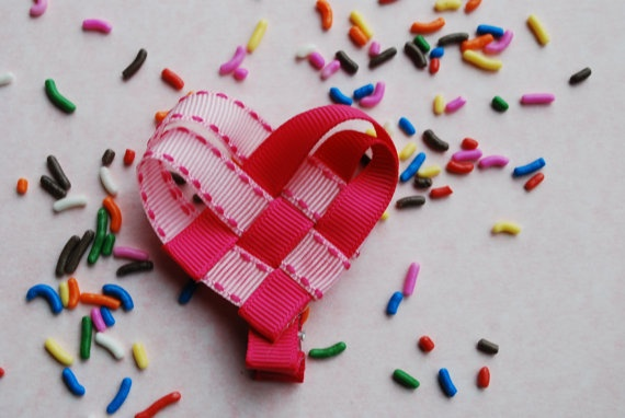 Valentine Woven Heart Ribbon Hair Clip / Pin Light by kimwes12, $4.99