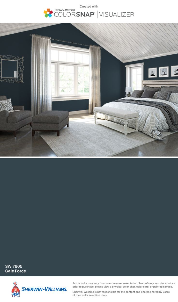 Paint color used for powder room, basement bath, dining area ceiling, master ceiling and loft ceiling: Sherwin-Williams: Gale Force (SW 7605).