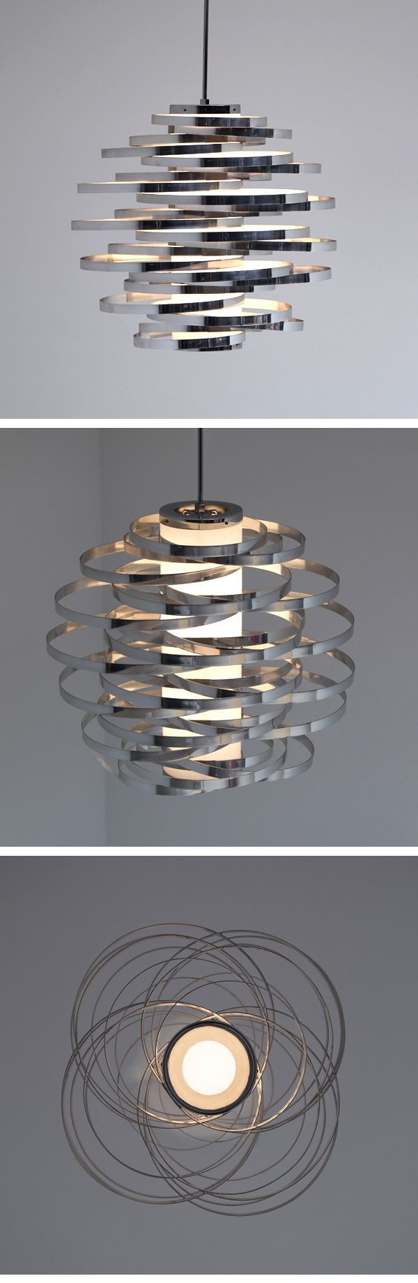 GAETANO SCIOLARI CHANDELIER 1960'S   Here a hard to find room filling Sciolari chandelier. a great example of wonderful Italian Design. hanging lamp with two lightsources in a milkcoloured plastic body covered in aluminium rings. In perfect condition.