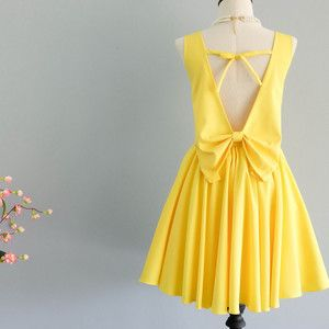 Lemon Yellow Dress Yellow Party Dress Backless Dress Yellow Prom Dress Lemon Yellow Cocktail Dress W