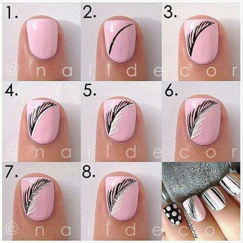 ... Feather Nail Art Design. on nail art designs step by further black and