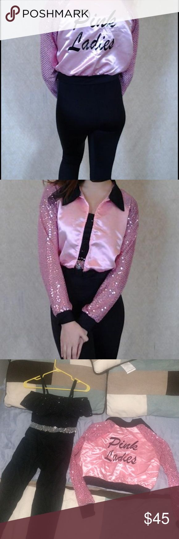 Pink ladies costume Off the shoulder legging leotard with sparkly silver belt Pink ladies jacket with sequin sleeves costume gallery Costumes