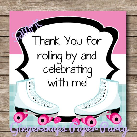 Instant Download - Roller Skating Party Favor Tags - Printable Skating Birthday Party