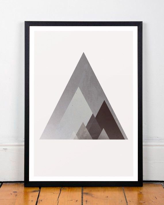 Geometric art, Triangles print, Mountains art print, Mountains poster, Abstract art, A3, Scandinavian art, Poster, Modern poster, Triangles by ShopTempsModernes on Etsy https://www.etsy.com/listing/221084487/geometric-art-triangles-print-mountains