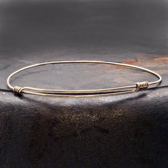 Gold Expandable Bracelet Man/Woman 14k Gold by SunSanJewelry