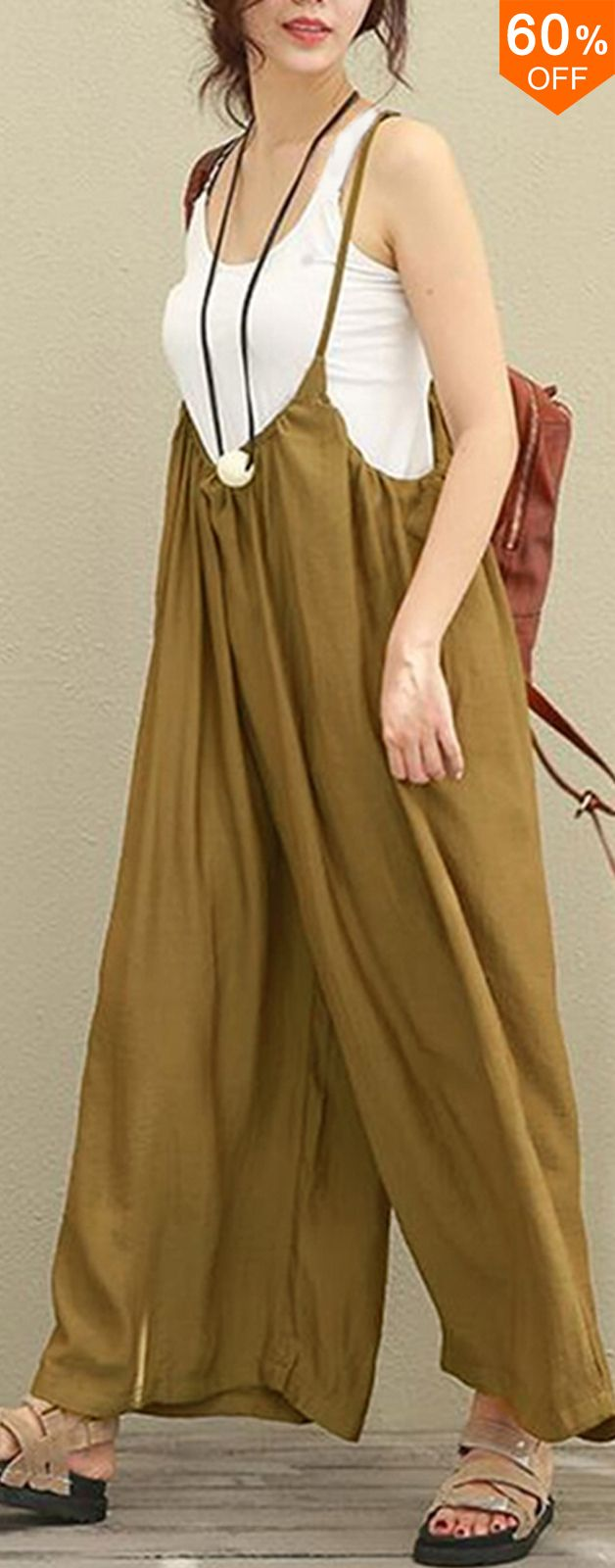 S-5XL Women Casual Sleeveless Strap Baggy Wide Leg Pant Jumpsuit Rompers.jumpsui…