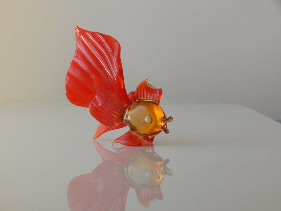 Glass figurine fish Fish Sculpture Gift by WoodenPipeAndVintage