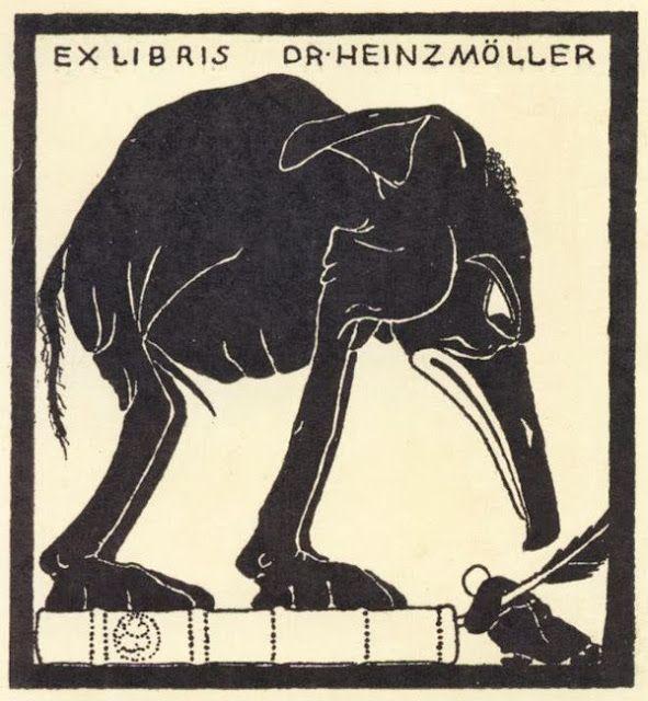 Ex libris con elefante.