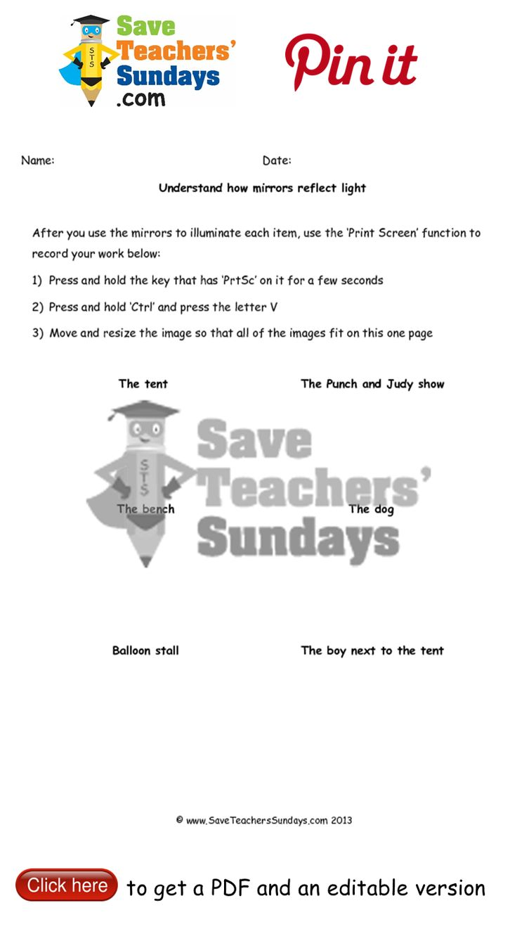 Worksheet to go with online activity on reflecting light. Go to http://www.saveteacherssundays.com/science/year-3/329/lesson-6-light-travelling-in-straight-lines/ to download this Worksheet to go with online activity on reflecting light. #SaveTeachersSundaysUK
