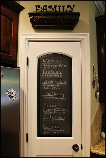 Love chalkboard pantry doors  I would also use this on the inside of a childs room.  I also see that they just came out with it being sold on a roll. Im assuming its like wallpapaer?