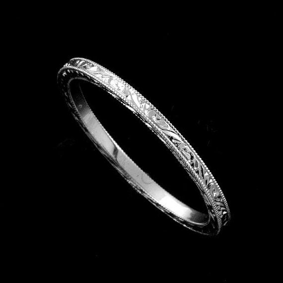 Trending Eternity Straight Stackable White Gold Flat Hand Engraved Crafted And Milgrain Art Deco Style Delicate Thin Wedding Band Wide