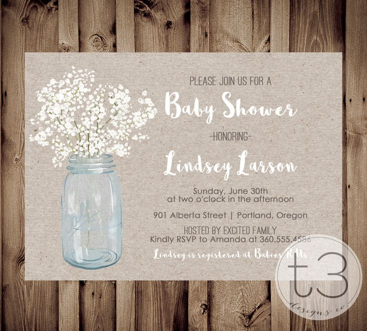 Country Baby Shower Invitation, Rustic Baby Shower Invite, Mason Jar  Invite, Printed Invitations, Country Baby Shower Invitation, Neutral