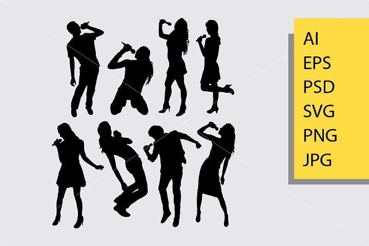 Singer Silhouette 511746 Illustrations Design Bundles Woman Silhouette Silhouette Silhouette Vector