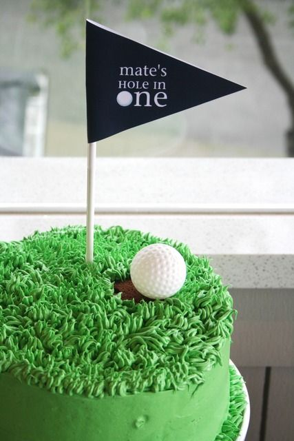 Hole in One cake at a Golf Party.  See more party ideas at CatchMyParty.com.  #golfpartyideas