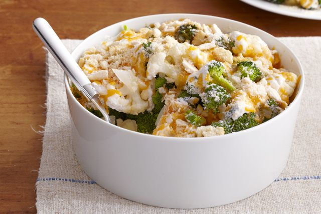 We've added a cheesy crisp topping to this deliciously creamy no bake side dish.
