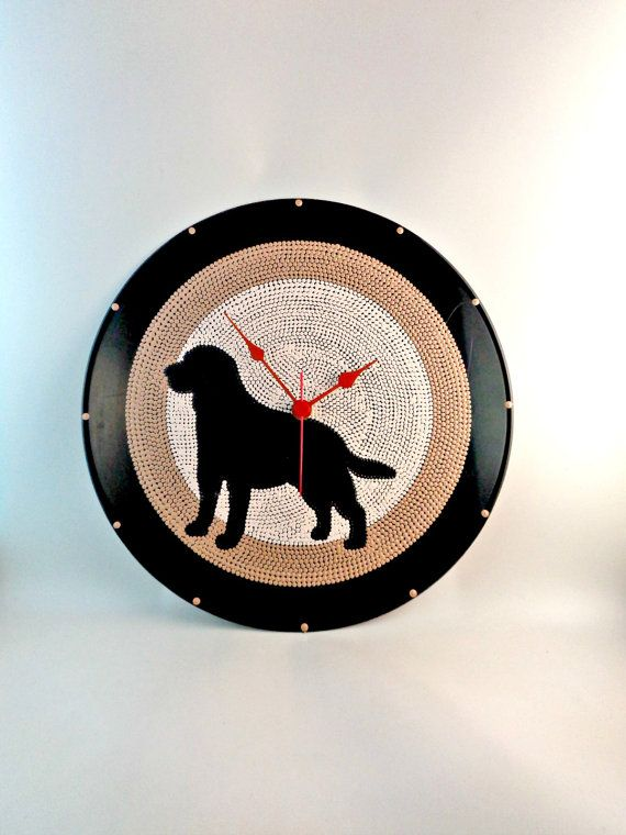 Labrador Dog Silhouette Vinyl Clock Upcycled by InsaneDotting