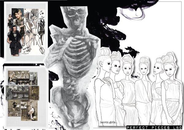 Fashion Sketchbook - fashion design inspired by 1920s vintage style & human anatomy - fashion portfolio // Emma Dobson