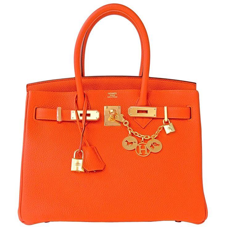 #Hermes Birkin #Bag Feu Orange Togo Gold Hardware