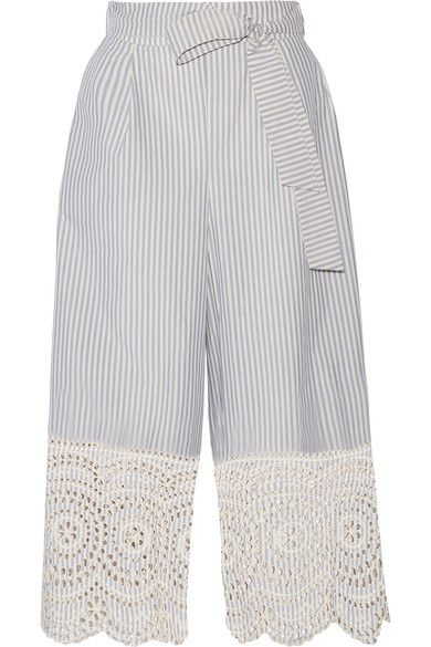 Zimmermann - Meridian Broderie Anglaise-trimmed Striped Cotton-poplin Wide-leg Pants - Sky blue